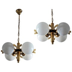 Pair of Midcentury Italian Brass Hand Blown Opaline Glass Chandeliers, Pendants