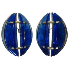 Pair of Mid-Century Italian Cobalt Blue Glass Sconces by Veca