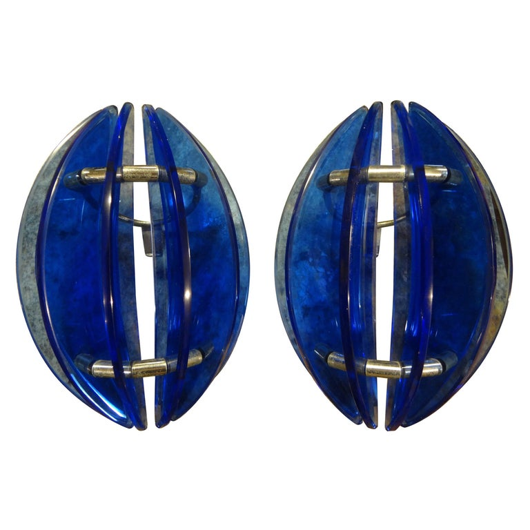 Pair of Mid-Century Italian Cobalt Blue Glass Sconces by Veca For Sale