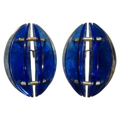 Pair of Mid-Century Italian Cobalt Blue Glass Sconces by Veca