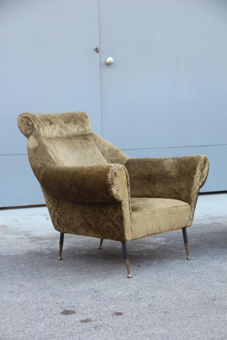 Pair of Midcentury Italian Design Armchairs Gigi Radice for Minotti 1950 Green For Sale 5