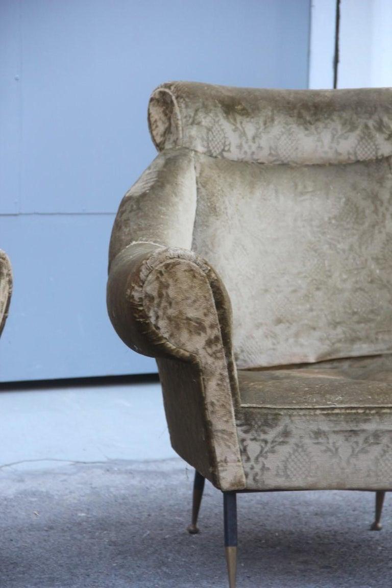Pair of Midcentury Italian Design Armchairs Gigi Radice for Minotti 1950 Green For Sale 7