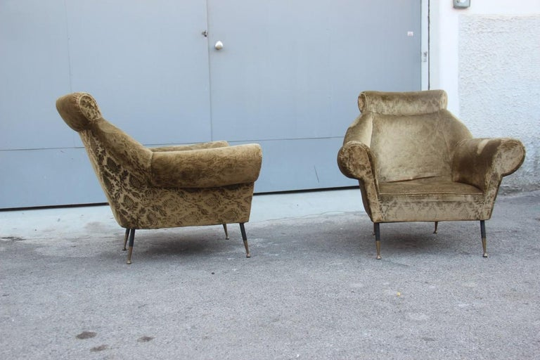 Pair of midcentury Italian design armchairs Gigi Radice for Minotti 1950 green.