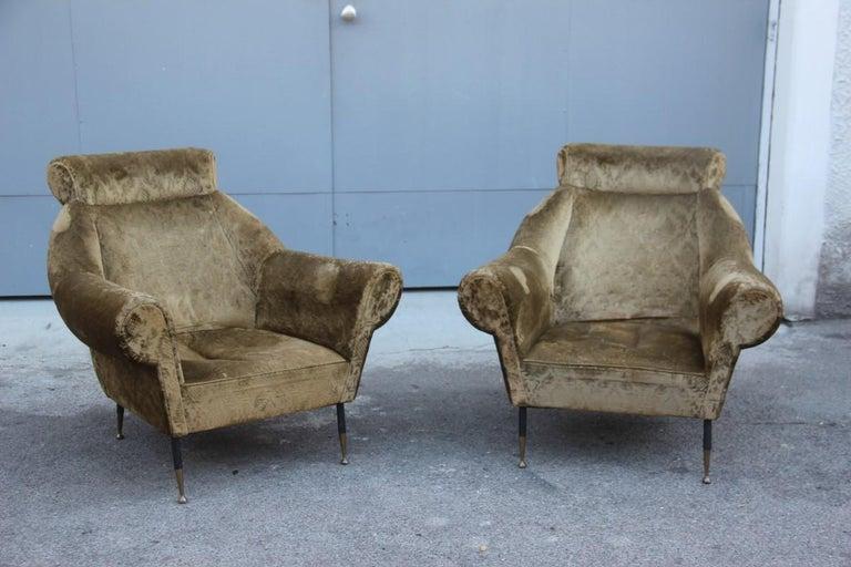 Mid-Century Modern Pair of Midcentury Italian Design Armchairs Gigi Radice for Minotti 1950 Green For Sale