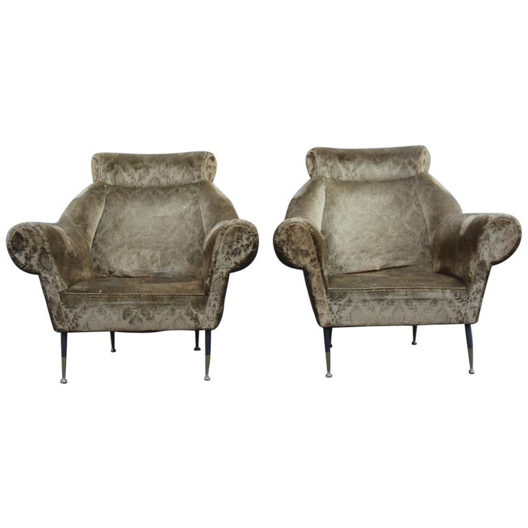 Pair of Midcentury Italian Design Armchairs Gigi Radice for Minotti 1950 Green For Sale