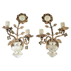 Pair of Mid-Century Italian Gilt Hollywood Regency Potted Flowers Wall Sconces