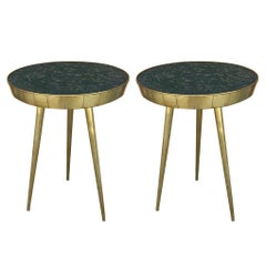 Pair of Mid-Century Italian Glass and Brass Side Tables