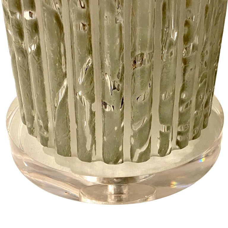 Art Glass Pair of Midcentury Italian Glass Table Lamps For Sale