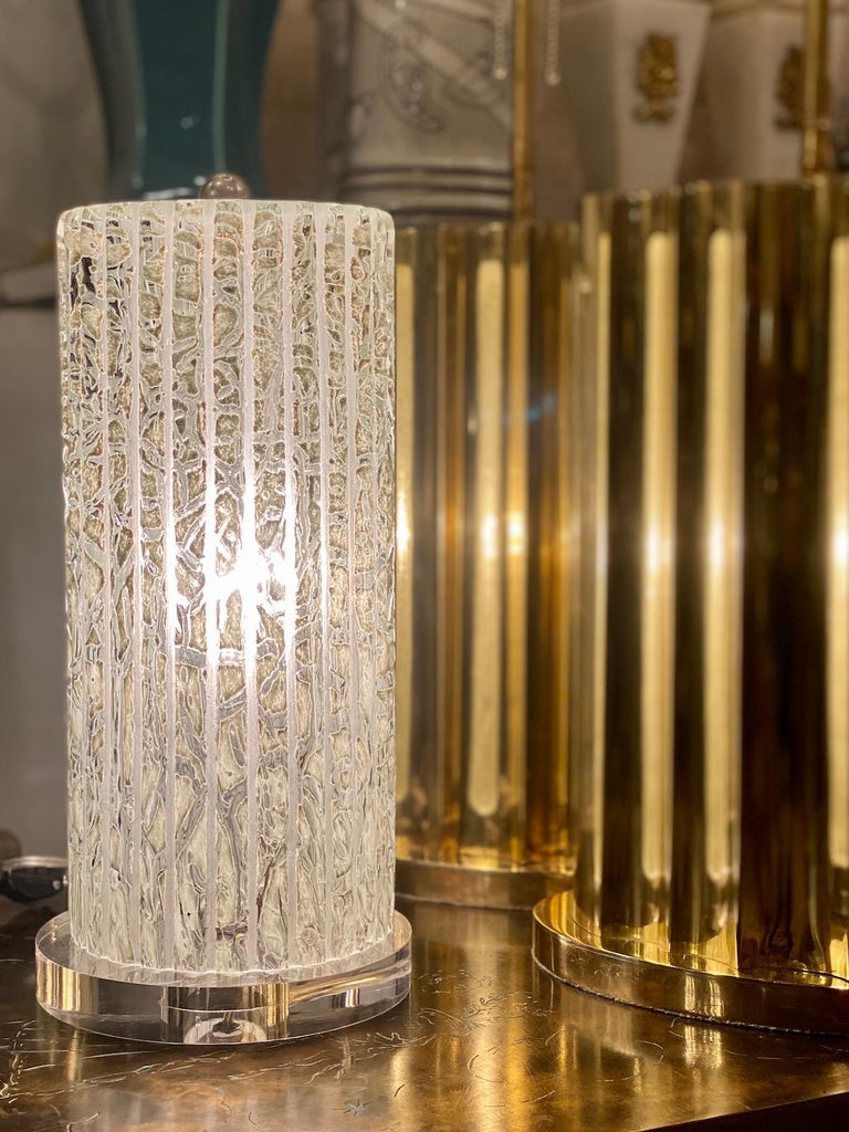 Pair of Midcentury Italian Glass Table Lamps For Sale 1