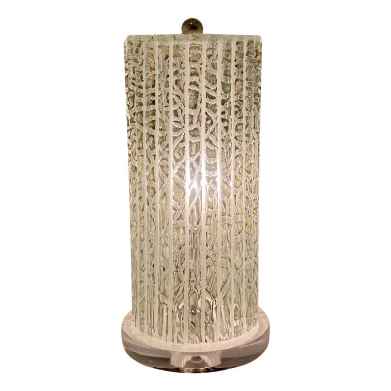 Pair of Midcentury Italian Glass Table Lamps For Sale 2