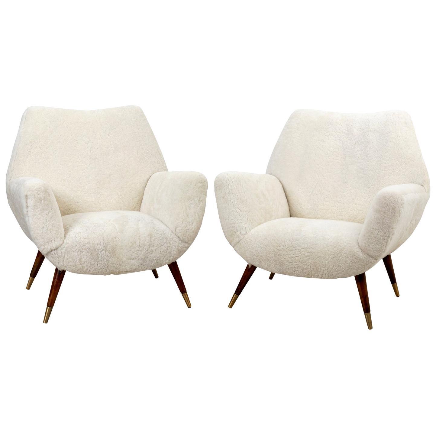 Pair of Midcentury Italian Lamb Shearling Chairs