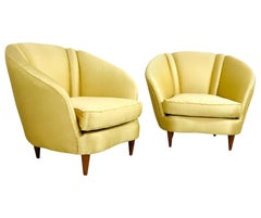 Pair of Midcentury Italian Lounge Chairs with Lotus Forms