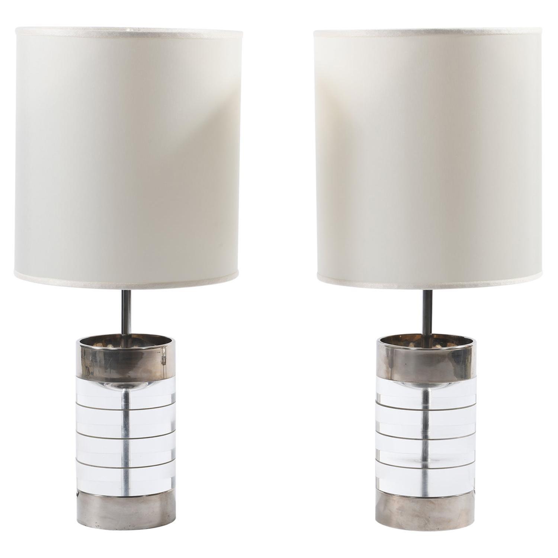 Pair of Midcentury Italian Lucite Table Lamps