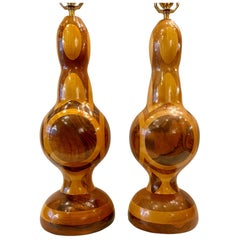 Pair of Midcentury Italian Marquetry Table Lamps