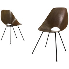 Pair of Midcentury Italian Medea plywood chairs by Nobili, 1950s