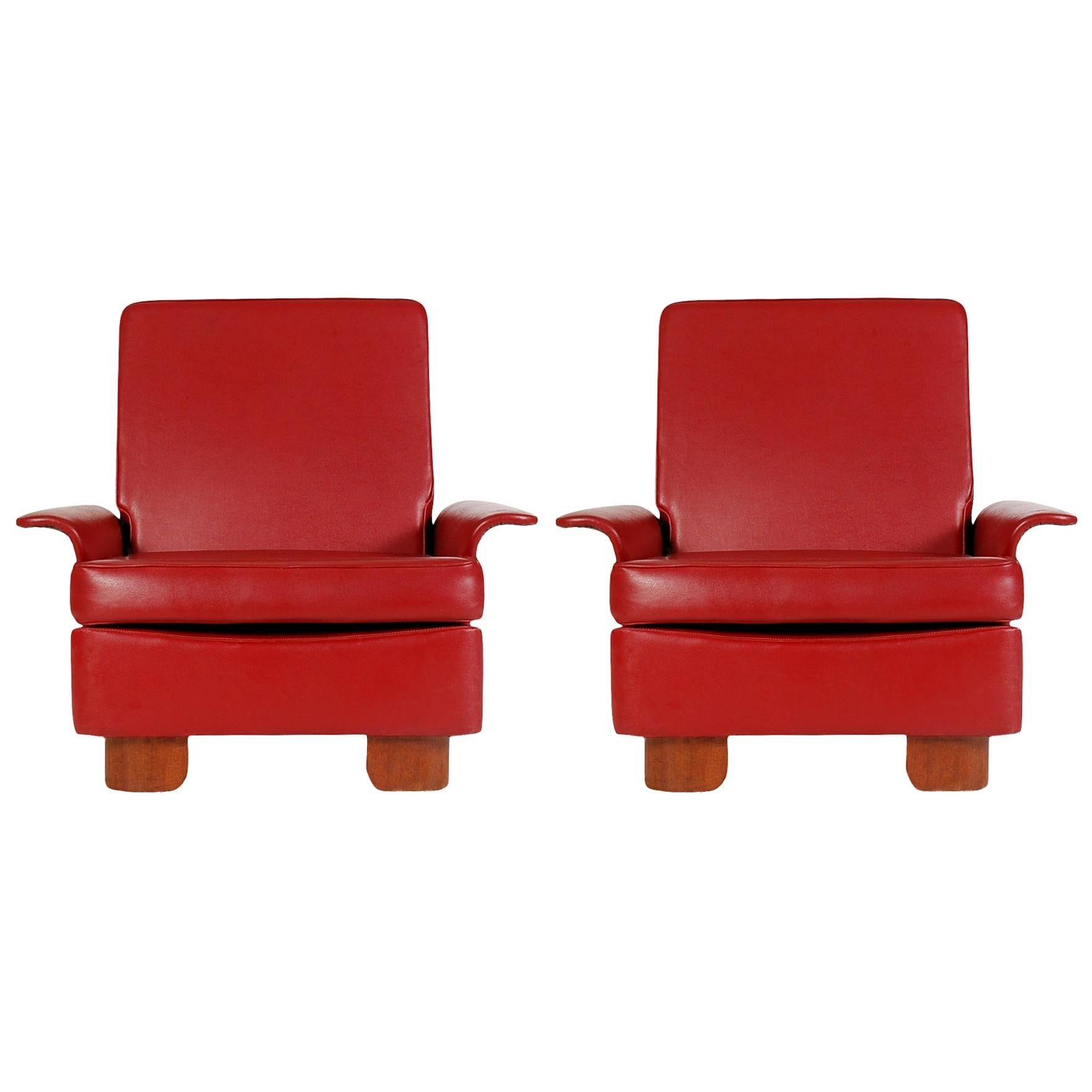 Pair of Midcentury Italian Modern Art Deco Lounge or Club Chairs in Red