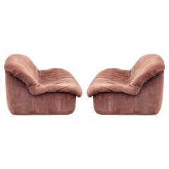 Pair of Mid Century Italian Modern Low Profile Lounge Chair or Slipper Chairs