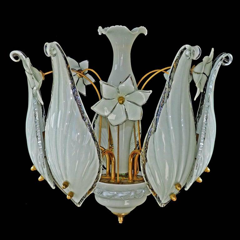 Hollywood Regency Mid-Century Italian Murano Franco Luce Art Glass and Gilt Brass Chandelier, Pair For Sale