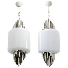 Pair of Midcentury Italian Murano Glass and Chrome Ceiling Lamp, Selenova, 1970s