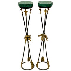 Pair of Midcentury Italian Neoclassical Style Faux Malachite Plant Stands