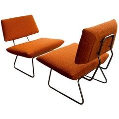 Pair of Midcentury Italian Orange and Chrome Lounge Chairs, Arflex, 1960s