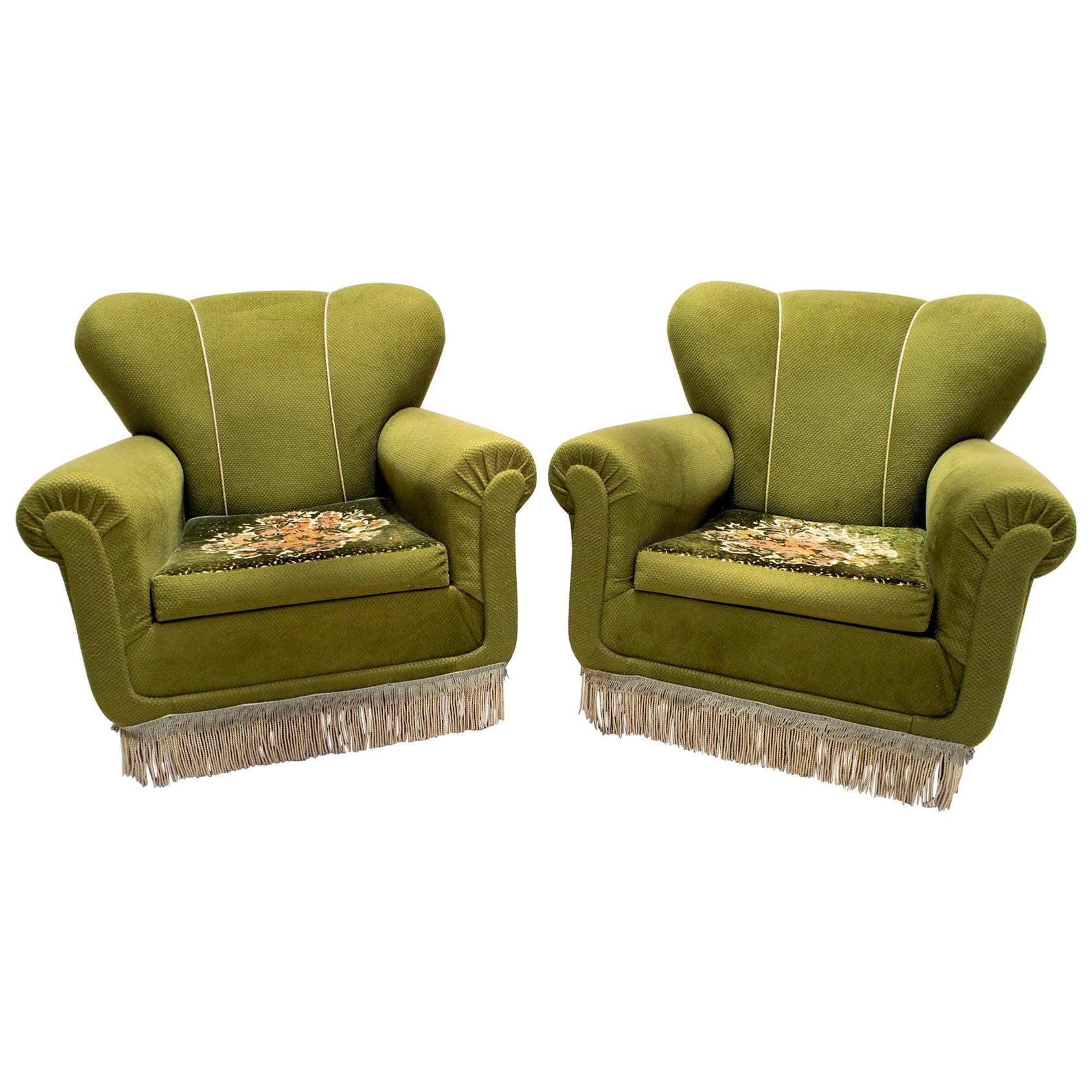 Pair of Midcentury Italian Original Cladding Armchairs, 1950s