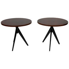 Pair of Mid Century Italian Oval Leather Top Side Tables
