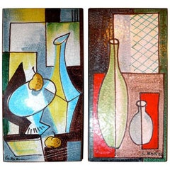 Pair of Mid-Century Italian Painted Tiles Signed G. Barni