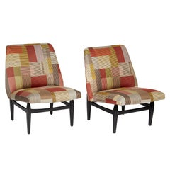 Pair of Midcentury Italian Slipper Chairs Upholstered in Paul Smith Fabric