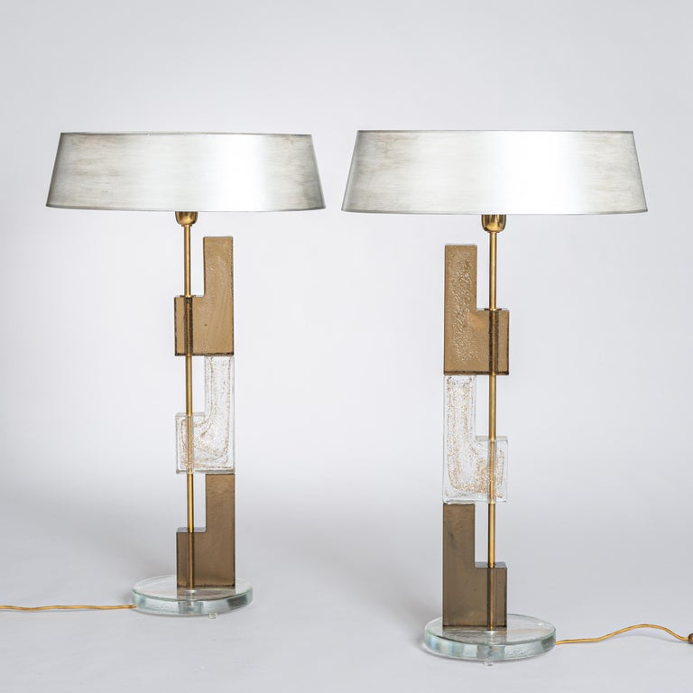 Mid-Century Modern Pair of Midcentury Italian Squared Murano Glass Table Lamps in Brown-Clear For Sale
