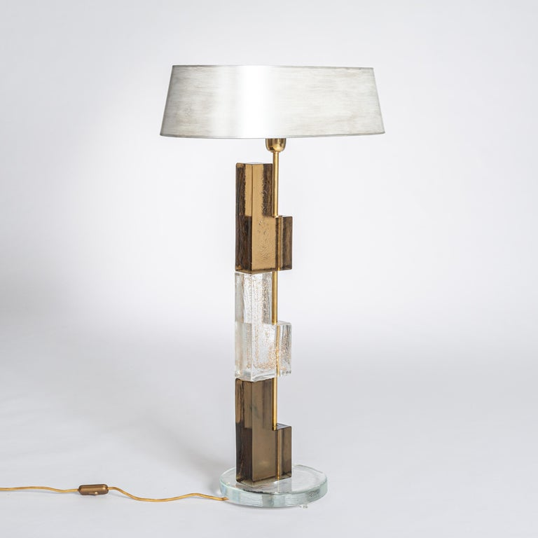 Pair of Midcentury Italian Squared Murano Glass Table Lamps in Brown-Clear In Good Condition For Sale In Salzburg, AT