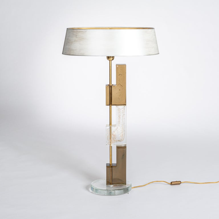 Late 20th Century Pair of Midcentury Italian Squared Murano Glass Table Lamps in Brown-Clear For Sale