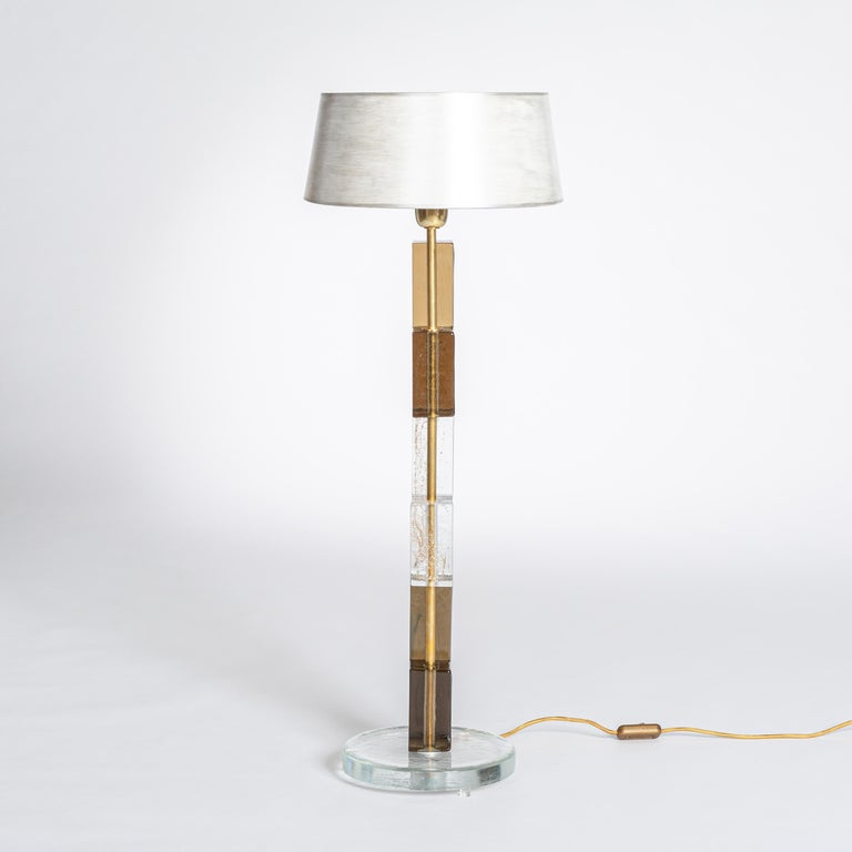 Brass Pair of Midcentury Italian Squared Murano Glass Table Lamps in Brown-Clear For Sale