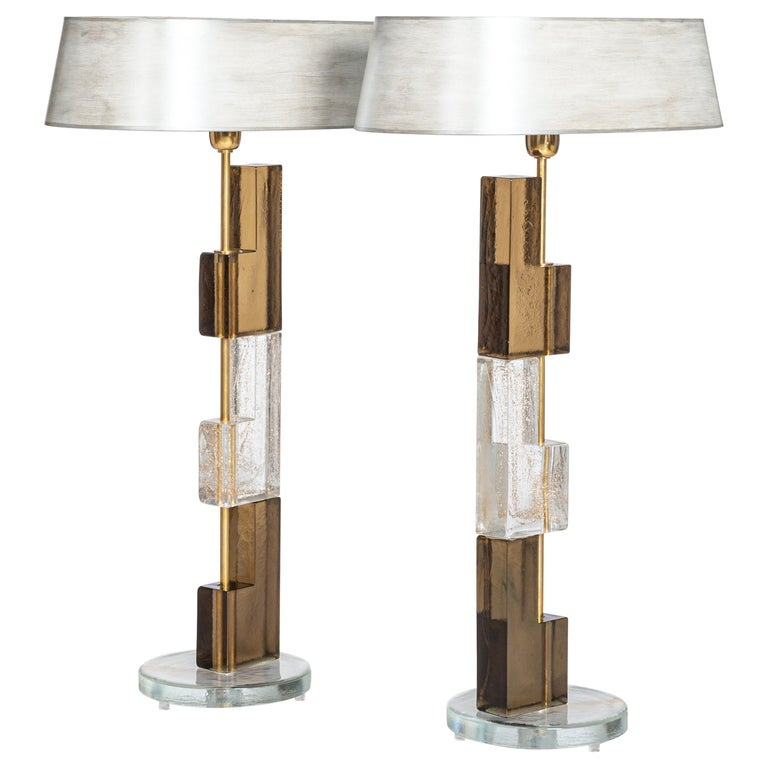 Pair of Midcentury Italian Squared Murano Glass Table Lamps in Brown-Clear For Sale