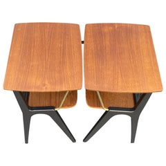 Pair of Midcentury Italian Style Bedsides in Teak, Ebonized wood and Brass