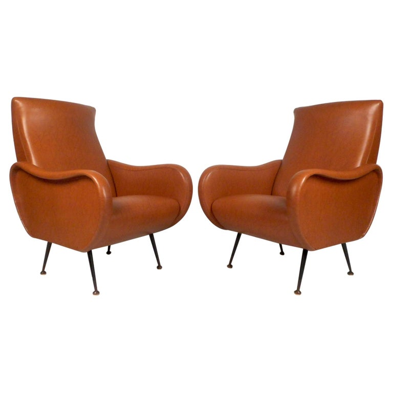 Pair of Mid-Century Italian Style Lounge Chairs For Sale
