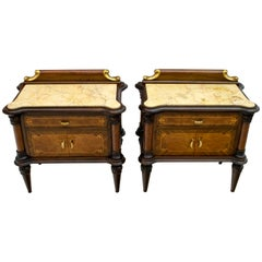Pair of Midcentury Italian Walnut and Cream Valencia Marble Night Stands, 1940s