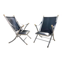 Pair of Midcentury Jansen Campaign Style Chairs