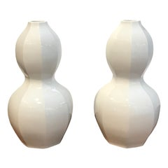 Pair of Mid Century Japanese Blanc de Chine Gourd Vases