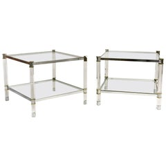 Pair of Mid-Century Karl Springer Lucite Side Tables