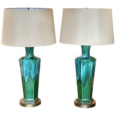 Pair of Midcentury Lamps Blue/Green Mecox Gardens