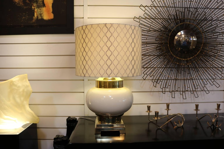 American Pair of Midcentury Lamps in Ivory Ceramic and Brass For Sale