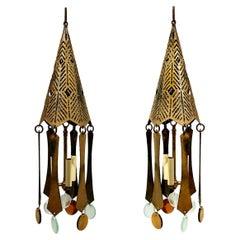 Pair of Midcentury Lanterns with Glass Pendants