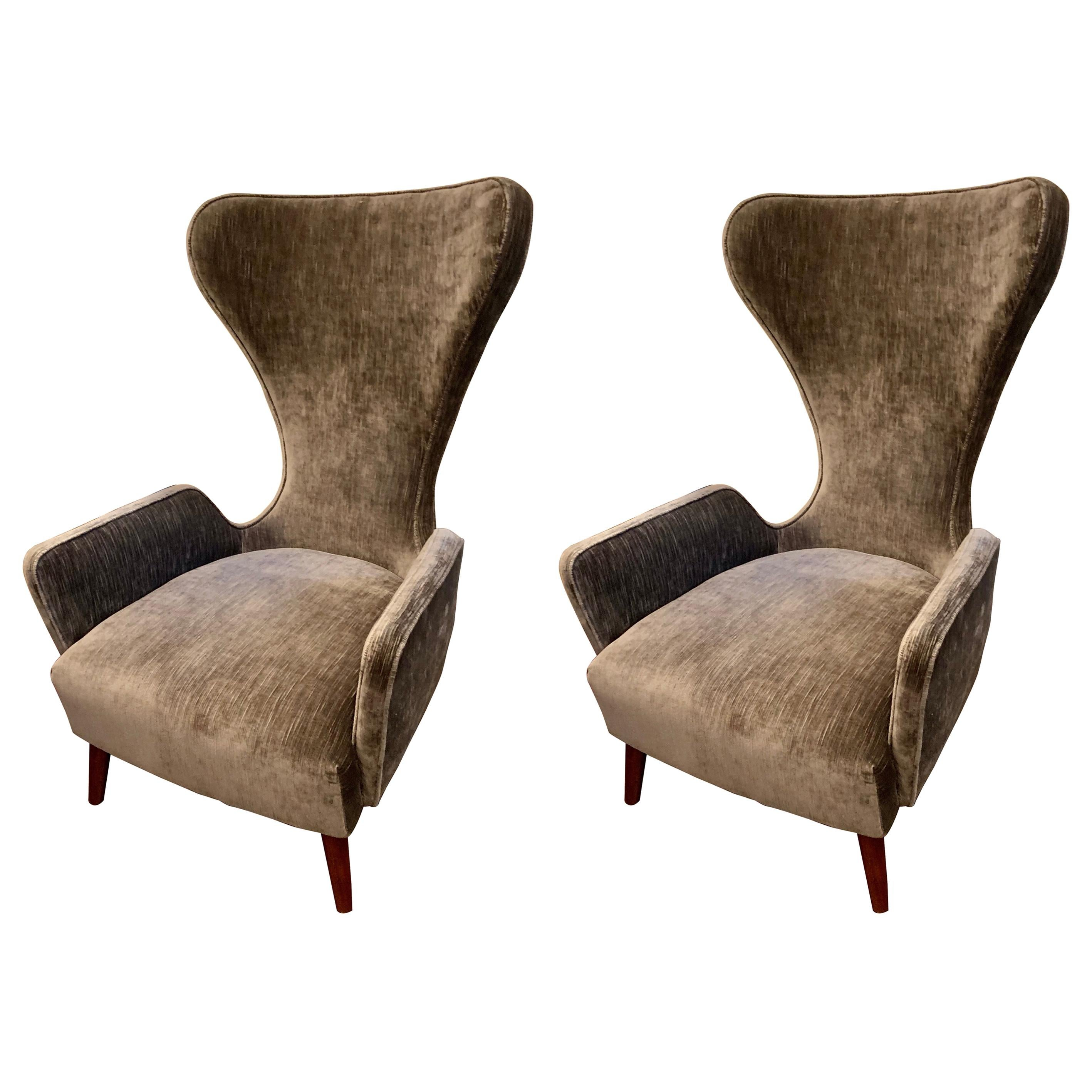 Pair of Mid-Century Large Sculptural Upholstered Tulip Lounge Chairs