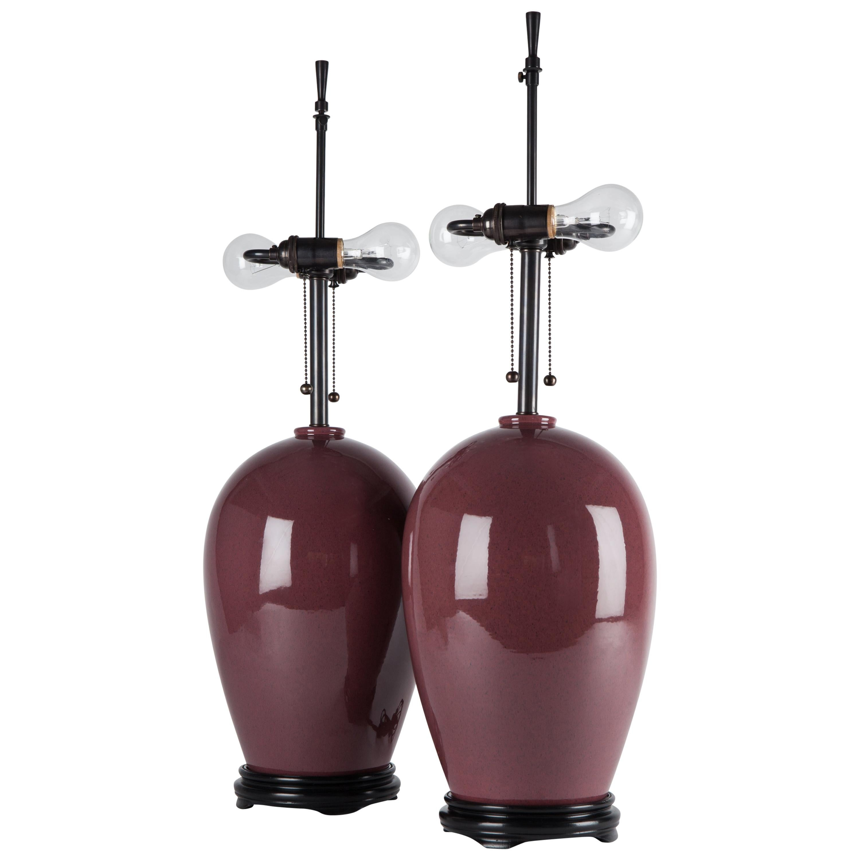 Pair of Midcentury Lavender Ceramic Ginger Jar Table Lamps