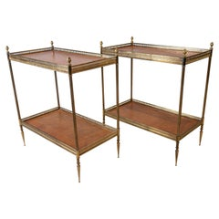 Pair of Mid Century Leather and Brass Side tables with a Greek Key Border