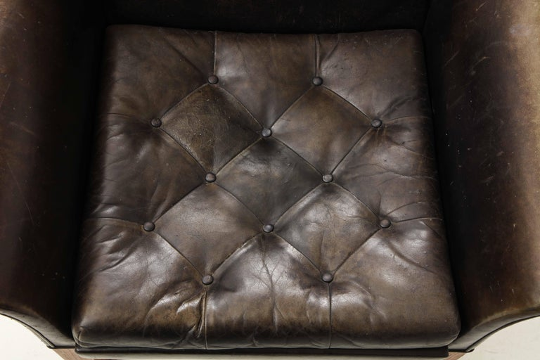 Pair of Rare Mid-Century Leather Club Chairs, Sweden, circa 1950s For Sale 4
