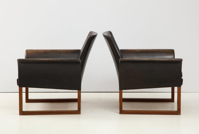 Swedish Pair of Rare Mid-Century Leather Club Chairs, Sweden, circa 1950s For Sale