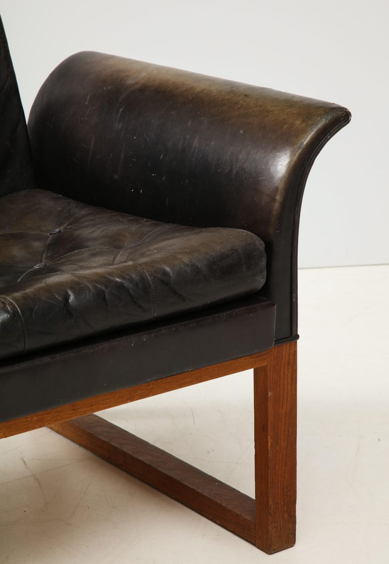 Pair of Rare Mid-Century Leather Club Chairs, Sweden, circa 1950s For Sale 2