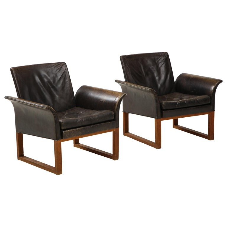 Pair of Rare Mid-Century Leather Club Chairs, Sweden, circa 1950s For Sale